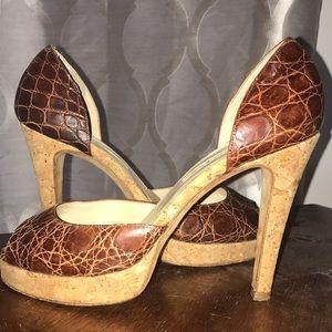 Oscar de la Renta cork and leather heels -7.5